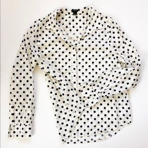 J. Crew Women's Polka Dot Button Down Shirt